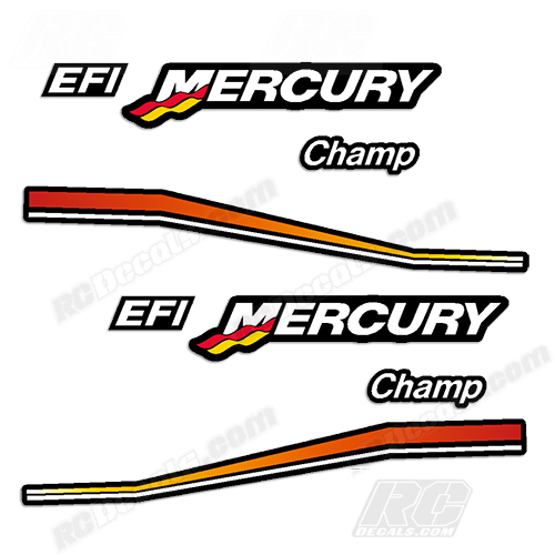 Mercury Champ Decals for 1/4 Scale RC Outboard Engines rc decals, rc, radio controlled, decals, team associated, chassis protector decals, rc cars, rc truck, rc starter wand, rc graphics, rc graphic kits, drone, rc drone, drone decals, traxxas decals, rc stickers, flag decals, radio controlled car stickers, drone stickers, dji stickers, dji decals, losi decals, losi stickers