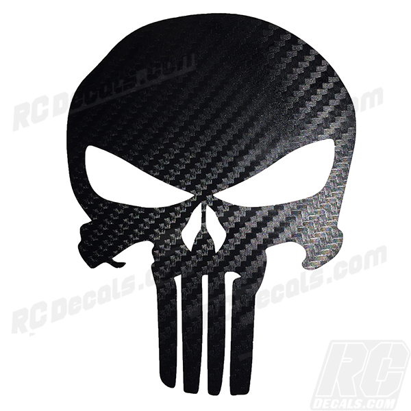 Punisher Decal - Carbon Fiber Punisher, carbon fiber, realtree, real tree, real tree camo, realtree camo, realtree blaze, realtree blaze camo, rc decals, rc, radio controlled, decals, team associated, chassis protector decals, rc cars, rc truck, rc starter wand, rc graphics, rc graphic kits, drone, rc drone, drone decals, traxxas decals, rc stickers, flag decals, radio controlled car stickers, drone stickers, dji stickers, dji decals, losi decals, losi stickers
