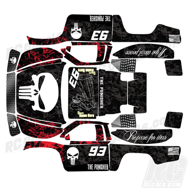 Traxxas Full RC Decal Kit- Slasher 4X4 -Punisher-Flames rc decals, rc, radio controlled, decals, team associated, chassis protector decals, rc cars, rc truck, rc starter wand, rc graphics, rc graphic kits, drone, rc drone, drone decals, traxxas decals, rc stickers, flag decals, radio controlled car stickers, drone stickers, dji stickers, dji decals, losi decals, losi stickers